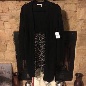 NWT Long Cardigan with printed sheer bottom